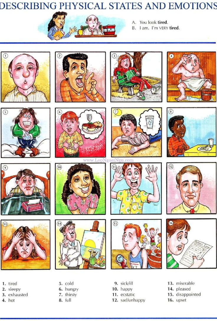 38 - DESCRIBING PHYSICAL STATES AND EMOTIONS A - Pictures dictionary - English Study, explanations, free exercises, speaking, listening, grammar lessons, reading, writing, vocabulary, dictionary and teaching materials