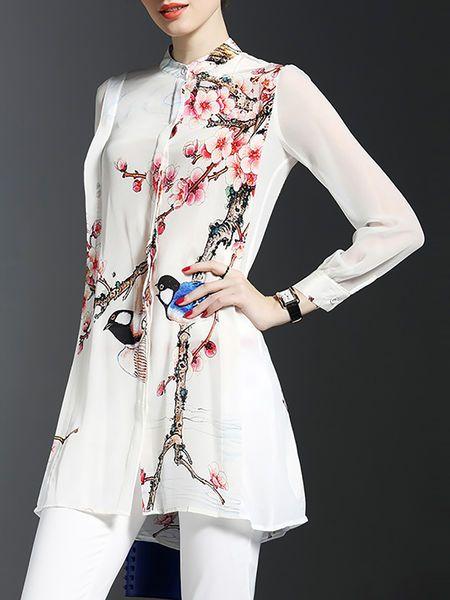Floral-print Silk #Tunic