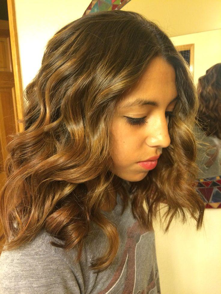 Handpainted highlights. Wavy hair. Lob haircut