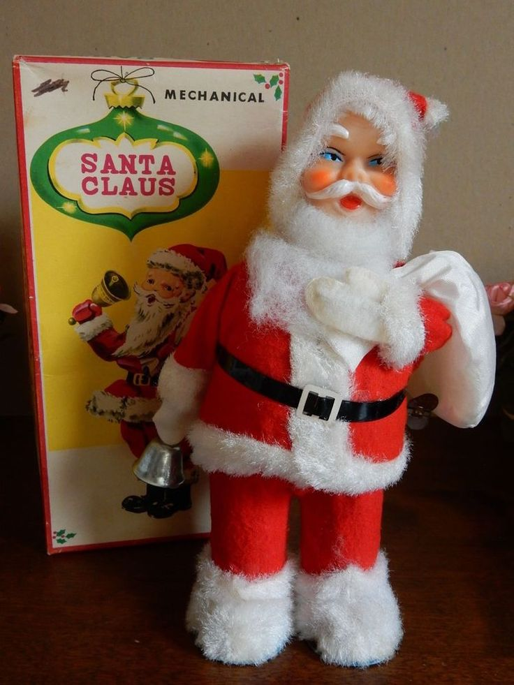 VINTAGE 1950s WIND-UP MECHANICAL SANTA CLAUS ORIGINAL BOX BELL TOY ALPS JAPAN