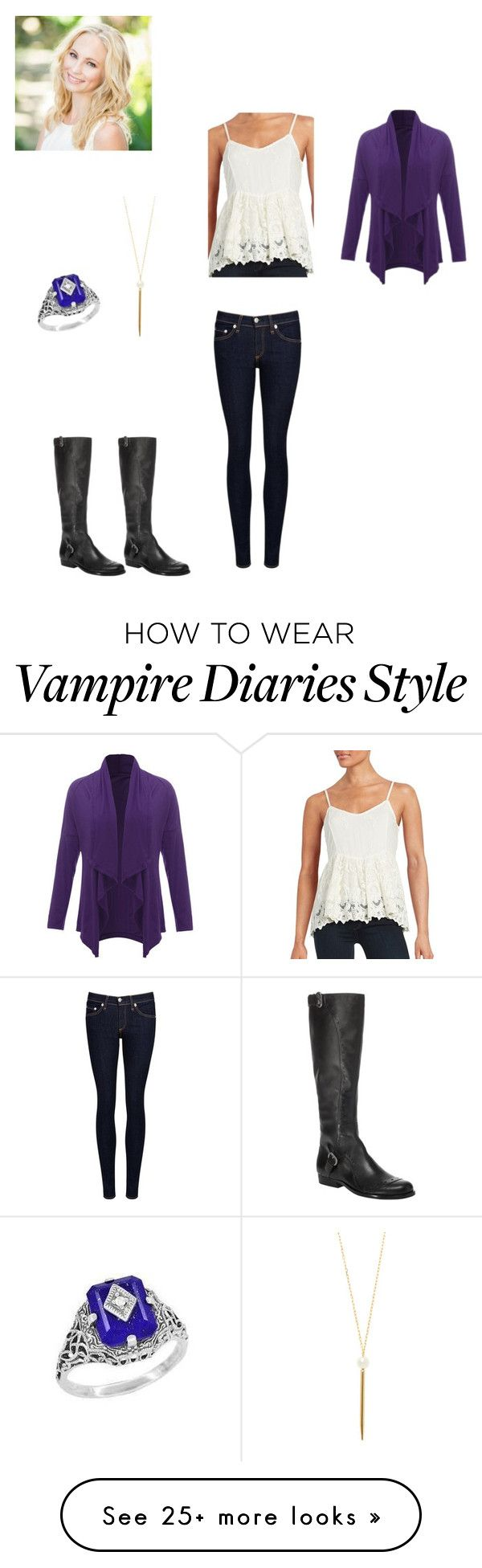 """Caroline Forbes"" by girlwhosparkles on Polyvore featuring Lazuli, Gemma Crus, rag & bone/JEAN, Ella Moss and Max Studio"
