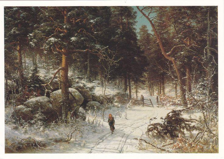 Kuva albumissa HJALMAR MUNSTERHJELM - Google Kuvat.  Talvimaisema Tuuloksessa 1874.