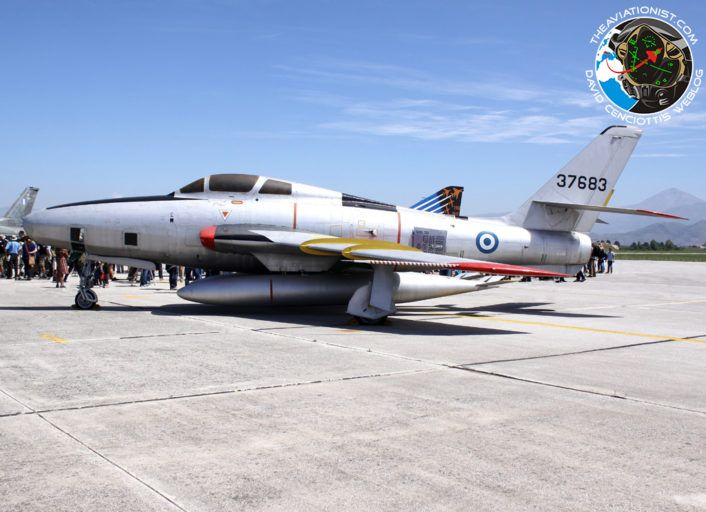 """The Aviationist » The Hellenic Air Force Has Retired Its Last RF-4E Phantom Jets. Among the aircraft in static display there was also this preserved RF-84F Thunderflash in silver color scheme """"37683"""" formerly belonging to 337 Mira."""
