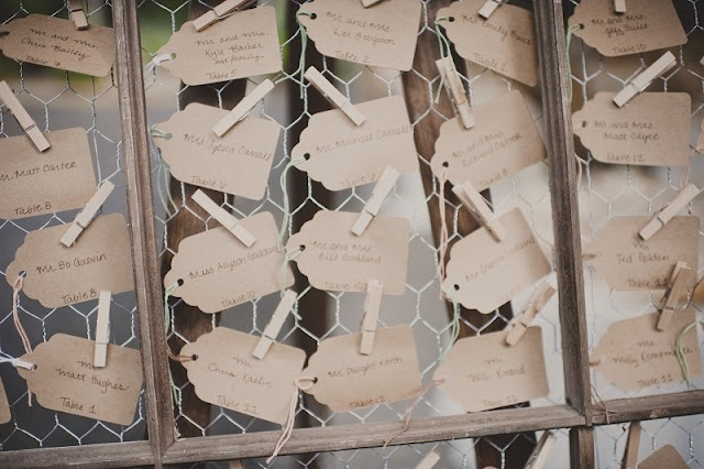 cards on chicken wire; see more DIY from this wedding here http://su.pr/2HvIwa