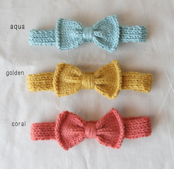 Knit Bow Headband for baby girl - pick your color. $12.00, via Etsy.