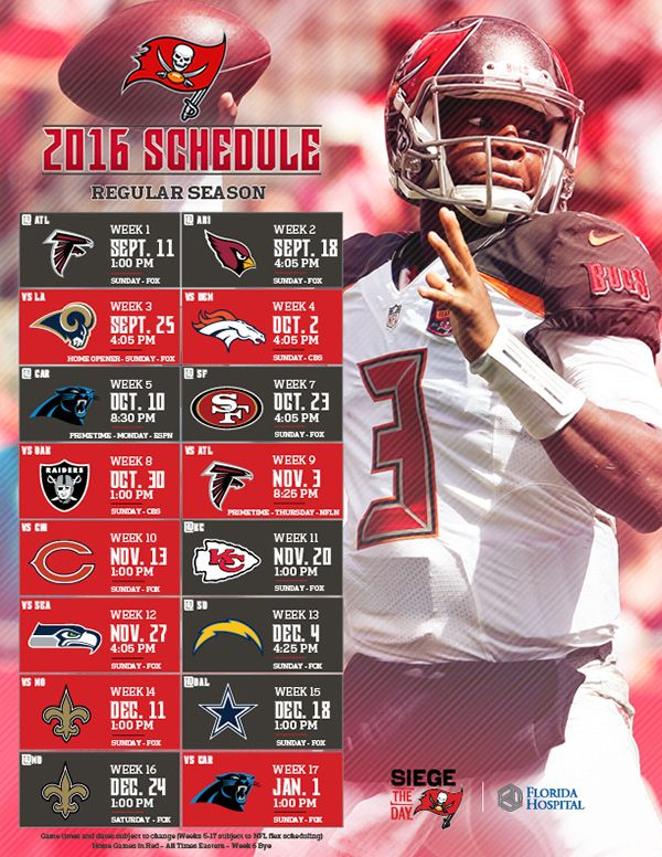 Tampa Bay Buccaneers' Full 2016 Schedule