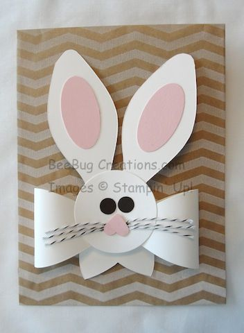 handmade Easter card ... punch art bunny head ... huge ears ... paper bow ...