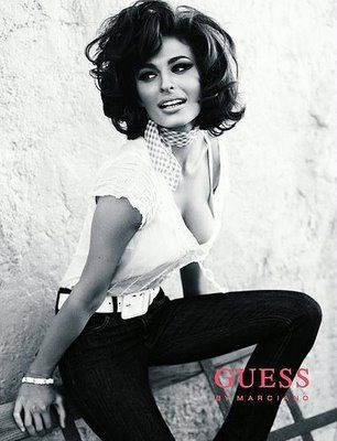 Sophia Loren modeled for Guess....who knew?  Still had gorgeous eyes and a killer bod at her age.