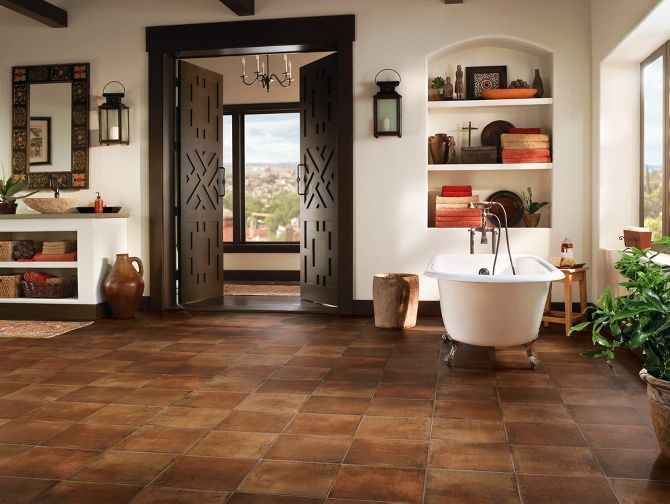 Vinyl Sheet, Saltillo, armstrong.  i like the good contrast of the warm floor and pale walls
