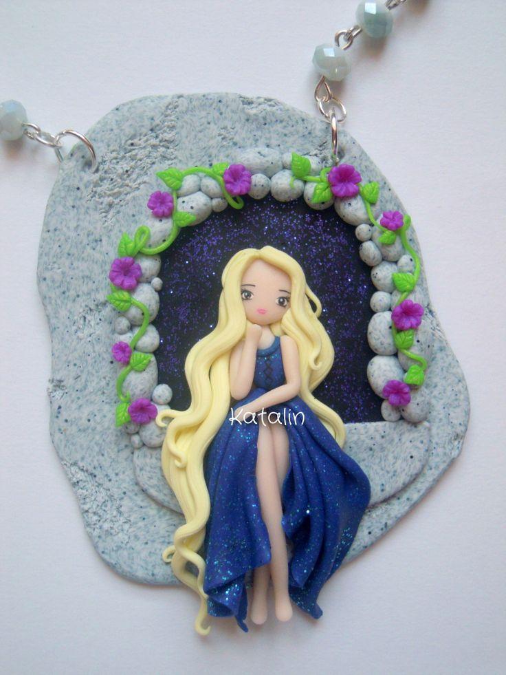 Lady Summer kawaii chibi doll polymer clay fimo necklace. By Katalin Handmade (2013)