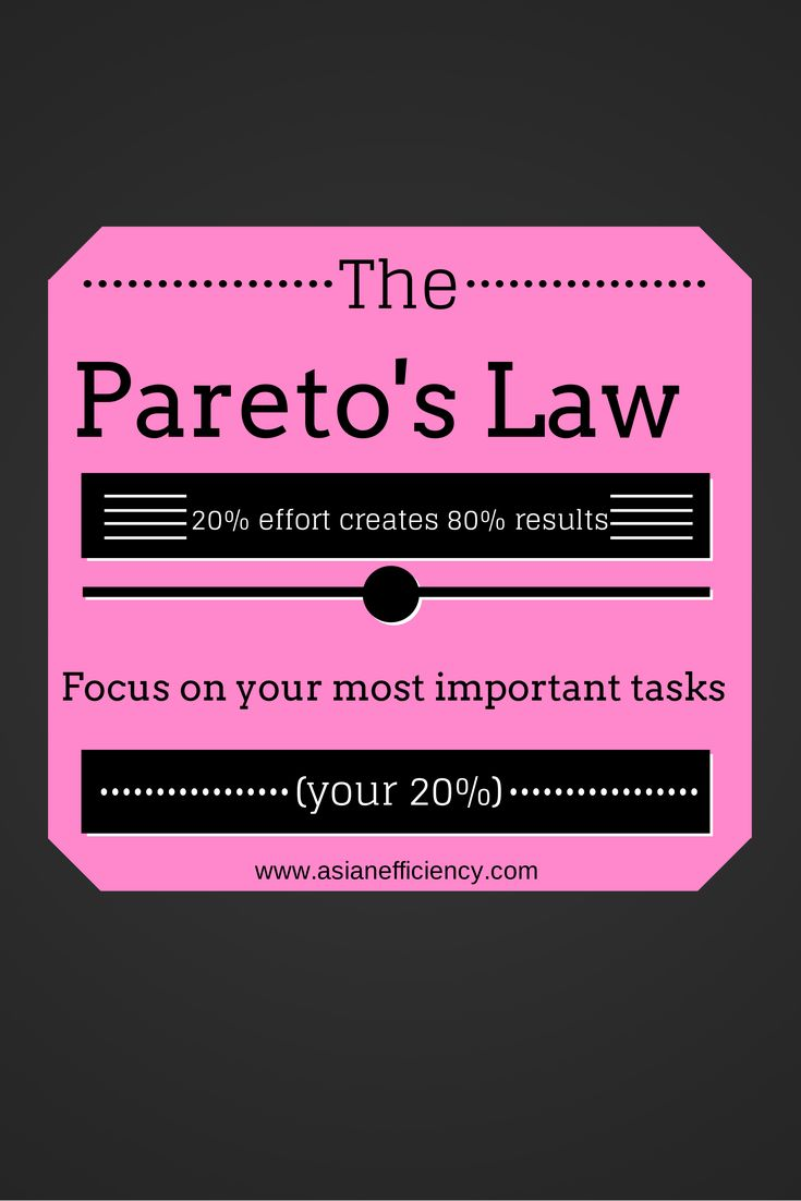 how to apply pareto principle in The pareto principle says that in most situations roughly 80% of effects come from only 20% of the causes we can use the pareto principle to better manage our time.