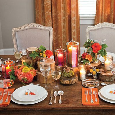 Finish With Candles Natural Thanksgiving Table