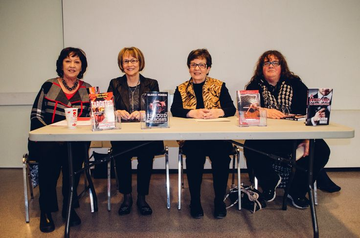 April 7/16 Crime Writers of Canada Author Panel at Guelph Main Library, Guelph, ON. L-R: Donna Warner, Gloria Ferris, Joanne Guidoccio,  & Alison Bruce