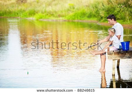 dad fishing in a lake   Father And Daughter Fishing On The Lake Stock Photo 88246615 ...