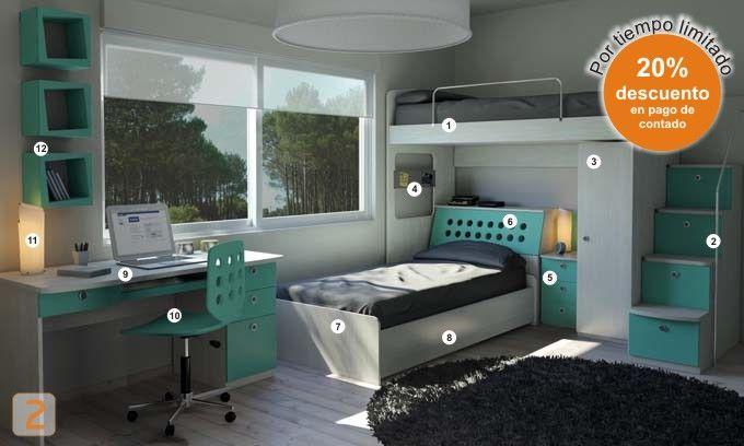 Mueble:  (Código A26) dormitorio-genova-habitacion-muebles-juveniles-colores -  AGIOLETTO, Muebles Infantiles, Muebles Juveniles