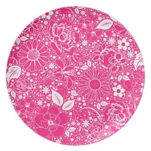 Botanical Beauties Hot Pink Dinner Plate #zazzle #plate #botanical #flowers #pink #hotpink #melamine