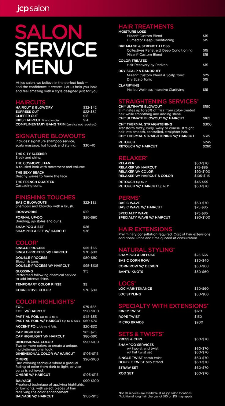 Best 25 salon menu ideas on pinterest beauty price list for Spa services near me