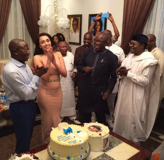 The former Edo state governor Adams Oshiomole turned 65 years old today April 4th. Himself and his beautiful wife Iara hosted his friends and political associates to a get together at his Abuja home this evening. Happy birthday to him... BTW is that a baby bump?    See Photos..