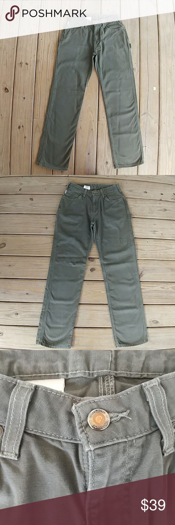 EUC Carhartt Cargo Pants EUC Carhartt Olive/ Grayish Work Pants. These are Sturdy, but Cool Looking Cargo Pants. They are High Waisted and it is about 27in with a 10in Rise. Inseam is 31in.They Have a Back Pocket on the Thigh and a Place For Your 🔨! They Would be Great as a Boyfriend Look. The First Picture is to Show How They Look. I Believe if This is Not The Exact Pair, They Are Very Close. Carhartt Pants Straight Leg