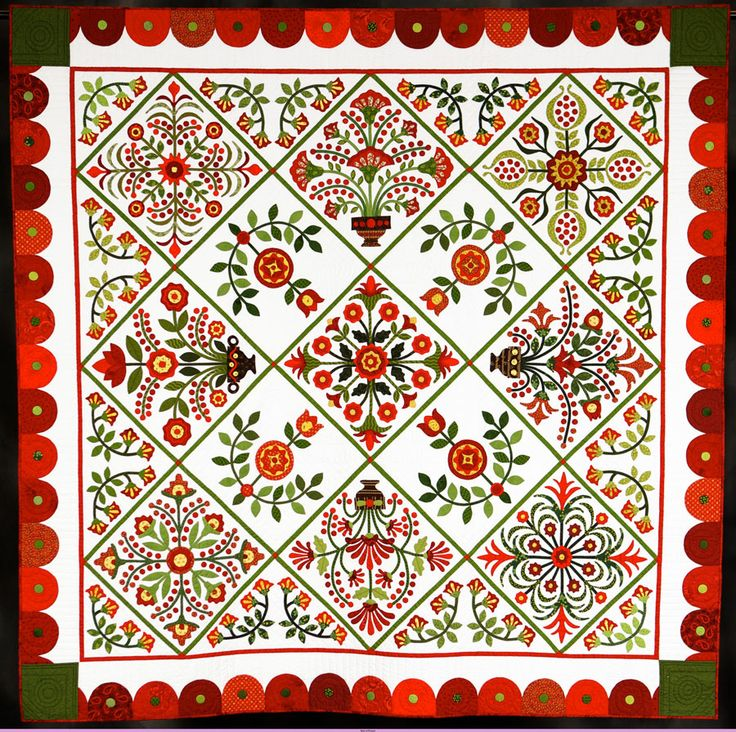 "Bed of Roses, 80 x 80"", by Susan H. Garman.  2nd place, traditional large applique, 2013 Road to California.  Inspired by traditional red and green quilts"