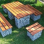 Gabion Table & Seats Set