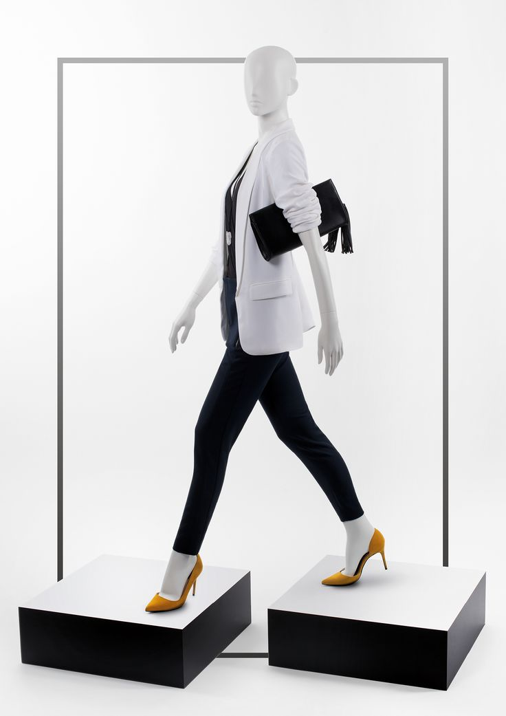 950 SERIES - Semi-abstract female mannequins. #MoreMannequins #WindowDisplay #whiteblazers #plynths