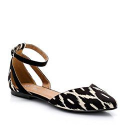 Black and White Graphic Print Ballet Pumps