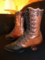 antike Schuhe, antike Stiefel, antike Schnürstiefel, Schuhe 1900, antieke schoenen, bottines 1900, stivaletti 1900, antikes Kleid, Mode um 1900, Kostüm 1900, victorianische Schuhe