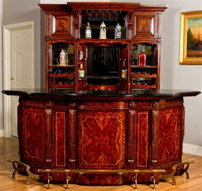 mahogany home bar inspired by London Gentlemen's Clubs of the Victorian period. In stock and ready to ship.