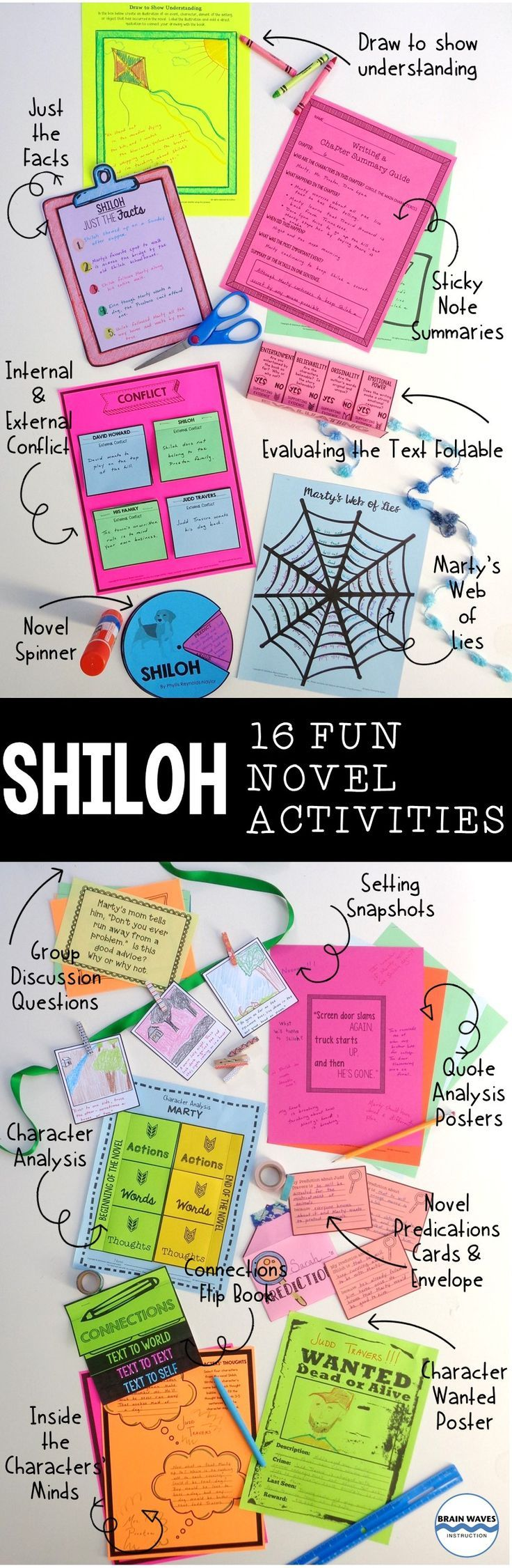 This super fun Shiloh novel study resource includes 16 chapter-by-chapter lessons and activities that will help students connect to, analyze, predict, investigate, synthesize, evaluate and comprehend the novel Shiloh.  It's designed to help students understand the novel more deeply and have fun while their doing it!