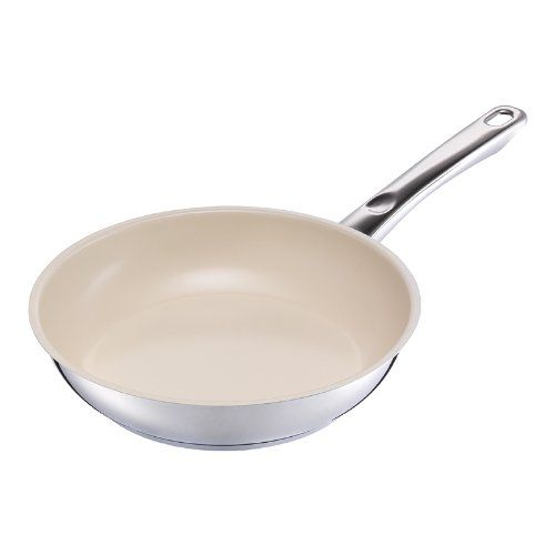 Kuhn Rikon Inox Ceramic Frying Pan 1102 SilverBeige *** You can find more details by visiting the image link.