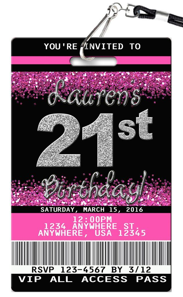 21st birthday invitation vip pass birthday invitations pinterest