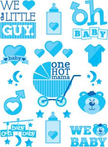 Baby Shower - It's a Boy! Temporary Tattoos Sheet