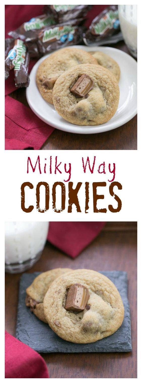 Milky Way Cookies | Buttery, dark brown sugar cookies filled with caramelly chunks of Milky Way candy bars @lizzydo