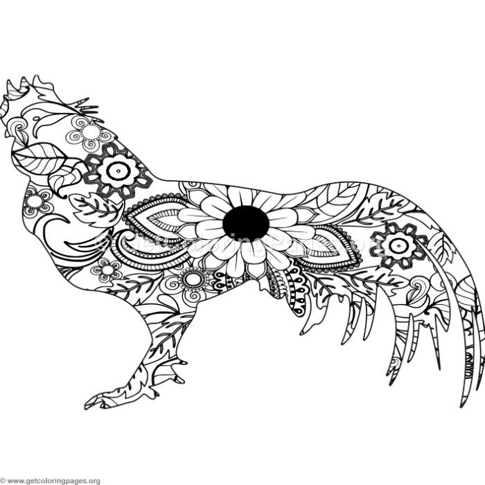 Free Download Zentangle Fighting Chicken Coloring Pages Coloring