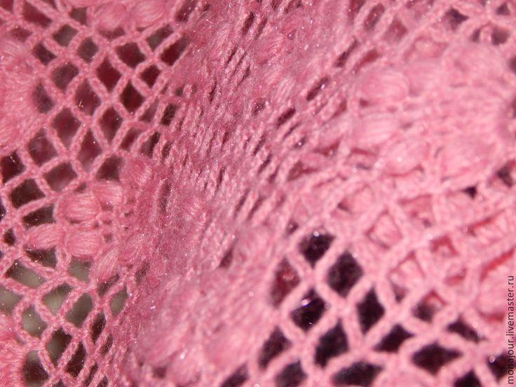 """Купить Вязаный палантин """"Нежность"""" - розовый, палантин ручной работы, палантин вязаный, палантин из шерсти"""
