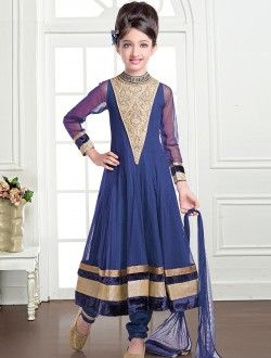Royal Navy Blue Net Kids Anarkali Salwar Suit