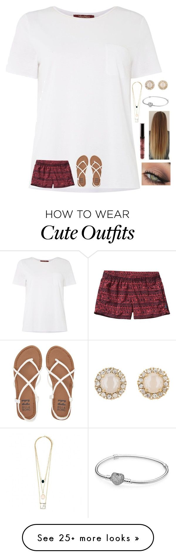 """Cute summer outfit"" by agrava on Polyvore featuring MaxMara, Patagonia, Billabong, Kate Spade, Pandora and tarte"