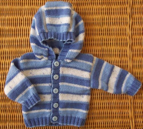 Pattern for a cardigan with either round neck, collar or hood, sized from birth through six years. Striped or solid options.
