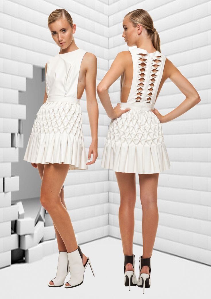 Surasit Liphan #leather smocking cut out dress #FDS Graduate collection.