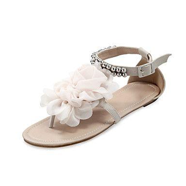 de schoenen van vrouwen kunstleer platte hak sandalen met kralen enkelbandje & satijnen bloemen meer kleuren beschikbaar – EUR € 14.99