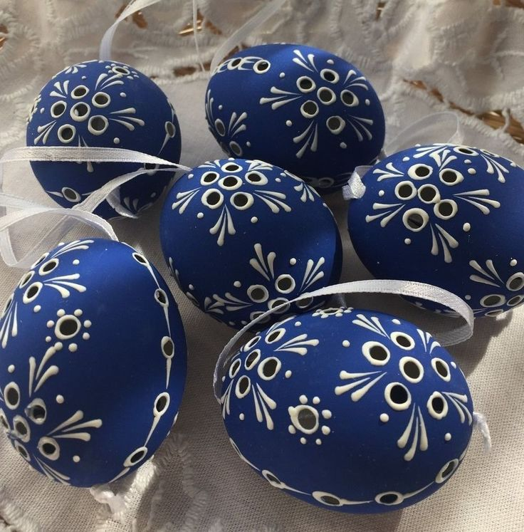 "Czech traditional Easter Eggs ""Kraslice"" (Moravia, Europe)-dark blue madeira"