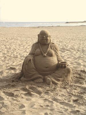 Beach + Sand Buddha = Happiness