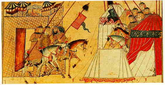 The Jami' al-Tawarikh by Rashid al-Din, Ilkhanid Persia, 1305-14. Besieged defenders of a town advancing to battle.