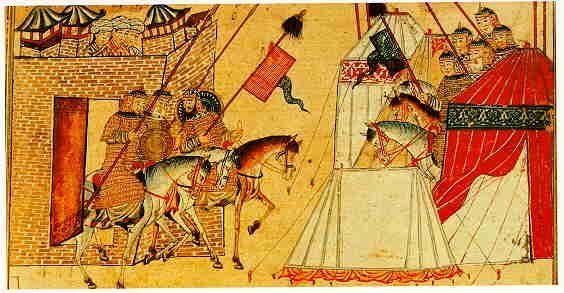 The Jami' al-Tawarikh by Rashid al-Din, Ilkhanid Persia, 1305-14. Besieged defenders of a town advancing to battle.