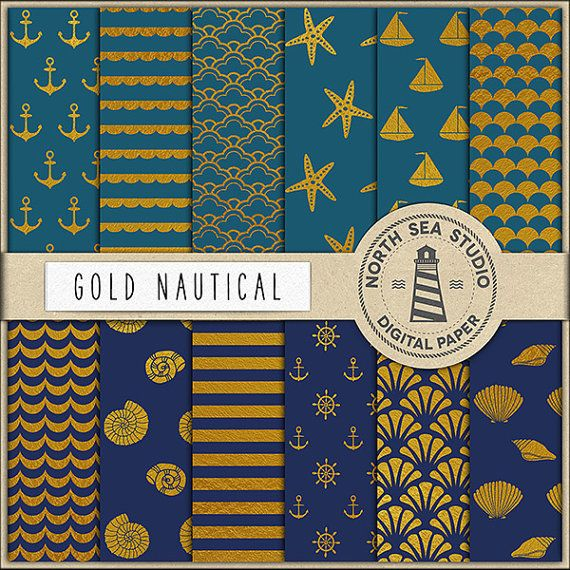 Gold Nautical Digital Paper -  http://etsy.me/2cR25KZ This pack includes 12 digital scrapbook papers with gold foil patterns.