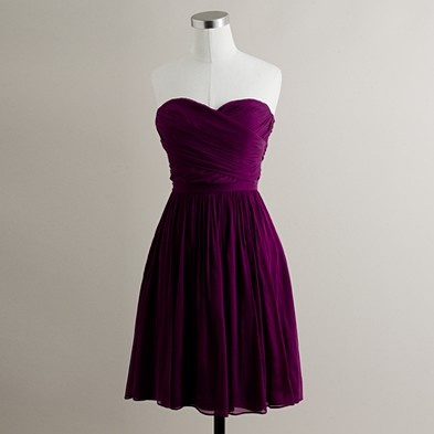 J.Crew Arabelle silk chiffon dress in Spiced Wine. This was the maid of honor's dress. The other two bridesmaids wore Sophia and Abigail, which have since been discontinued. Those dresses had straps; the MOH was set apart with a strapless dress.
