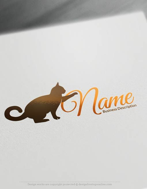 Customize this Cat Logo Template with our free logo maker software.