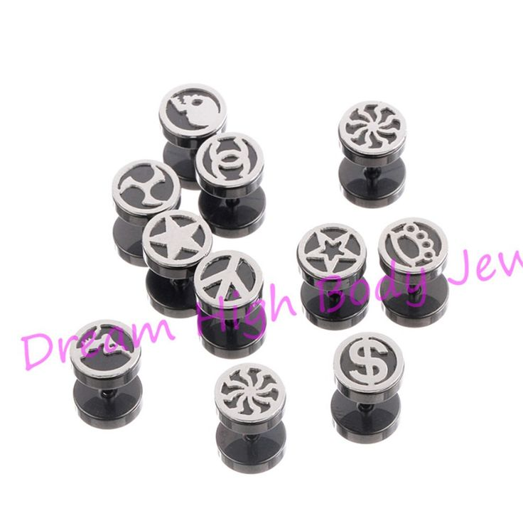 Brand New Barbell Earring 8MM Black Ear Stud Fake Ear Plugs Cheater Illusion Round Men's Star Peace $ Crown Logos Jewelry