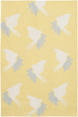 Swallows Dhurrie New Zealand Wool Area Rug in Corn and Cream design by Thomas Paul